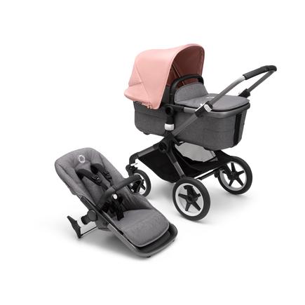 Bugaboo Fox 3 bassinet and seat stroller graphite base, grey melange fabrics, morning pink sun canopy