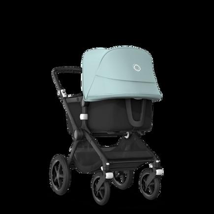 Bugaboo Fox 2 seat and bassinet stroller vapor blue sun canopy, black fabrics, black base