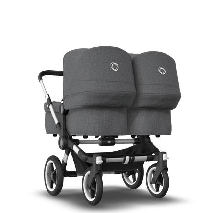 Bugaboo Donkey 3 Twin seat and bassinet stroller grey melange sun canopy, grey melange style set, aluminium base