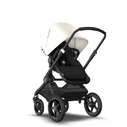 Bugaboo Fox 2 Seat and Bassinet Stroller Fresh white sun canopy, Black style set, black chassis