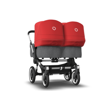 US - Bugaboo D3T stroller bundle aluminum grey melange red