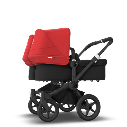 Bugaboo Donkey 3 Twin seat and bassinet stroller red sun canopy, black fabrics, black base