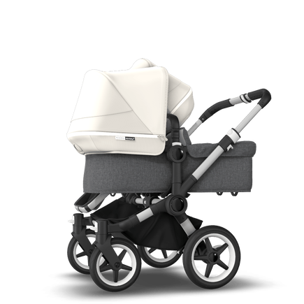 Bugaboo Donkey 3 Duo seat and bassinet stroller fresh white sun canopy, grey melange style set, aluminium base