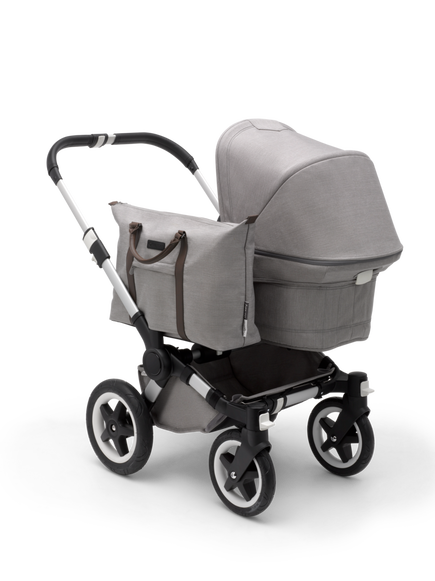 AU - Bugaboo Donkey 2 Mono Seat and bassinet pram- mineral light Grey mélange, Aluminium Chassis