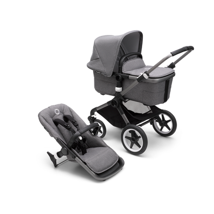 Bugaboo Fox 3 bassinet and seat stroller graphite base, grey melange fabrics, grey melange  sun canopy