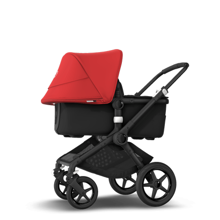 Bugaboo Fox 2 seat and bassinet stroller red sun canopy, black fabrics, black base