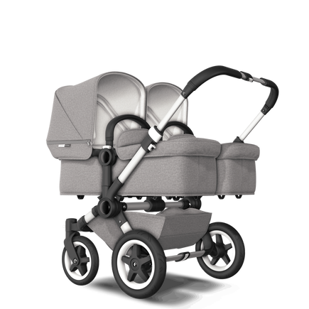 EU Bugaboo Donkey 2 Twin Seat and Bassinet Mineral Light Grey Melange, Aluminium Chassis