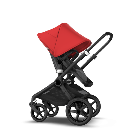 Bugaboo Fox 2 Seat and Bassinet Stroller red sun canopy grey melange style set, black chassis
