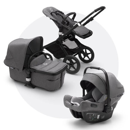 Bugaboo Fox 2 travel system grey melange (nr) sun canopy, grey melange fabrics, black base