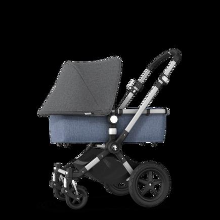 UK -Cameleon 3+ Seat and Carrycot pushchair grey melange sun canopy, blue melange fabrics, aluminium base