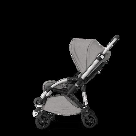 Bugaboo Bee 5 seat stroller mineral light grey melange sun canopy, mineral light grey melange fabrics, aluminium base