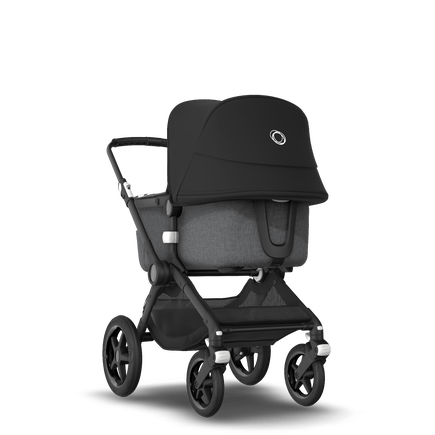 Bugaboo Fox 2 seat and bassinet stroller black sun canopy, grey melange fabrics, black base