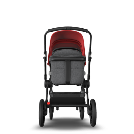 Fox 2 Seat and Bassinet Stroller Red sun canopy, Grey Melange style set, Black chassis