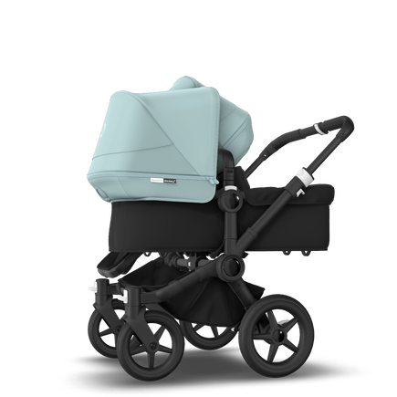 Bugaboo Donkey 3 Duo seat and bassinet stroller vapor blue sun canopy, black fabrics, black base
