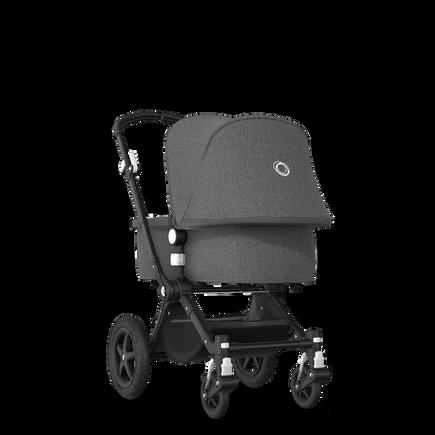 Bugaboo Cameleon 3 Plus seat and carrycot pushchair grey melange sun canopy, grey melange fabrics, black base