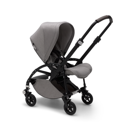 Bugaboo Bee 5 seat pushchair mineral light grey melange sun canopy, mineral light grey melange fabrics, black base