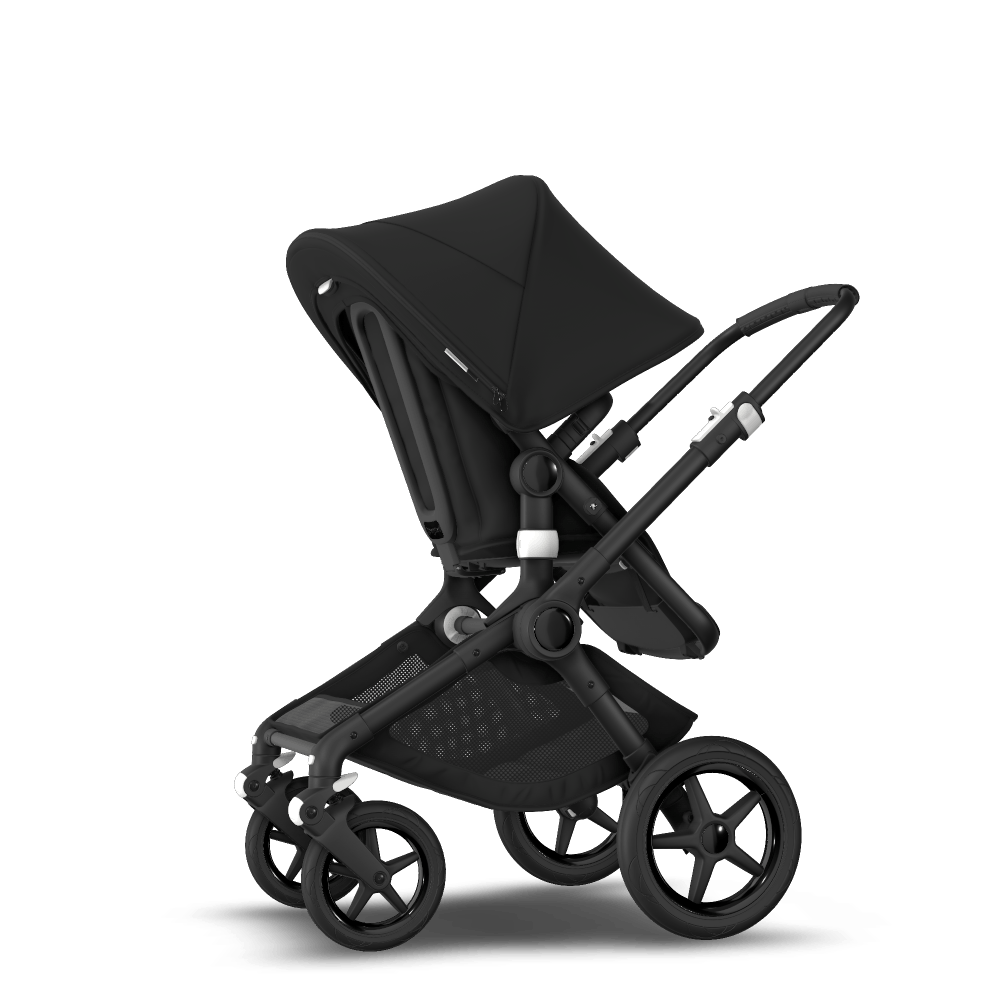 Fox 2 seat and carrycot pushchair - Black sun canopy, black fabrics, black chassis