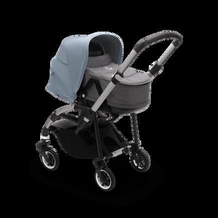 Bugaboo Bee 6 carrycot and seat pushchair vapor blue sun canopy, grey mélange fabrics, aluminium base