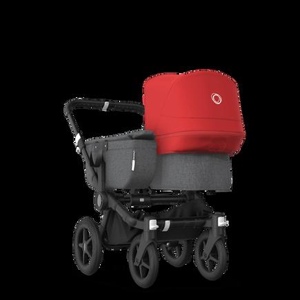Bugaboo Donkey 3 Mono seat and bassinet stroller red sun canopy, grey melange style set, black base