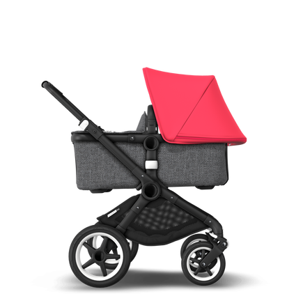 US - Bugaboo Fox stroller bundle black grey melange neon red