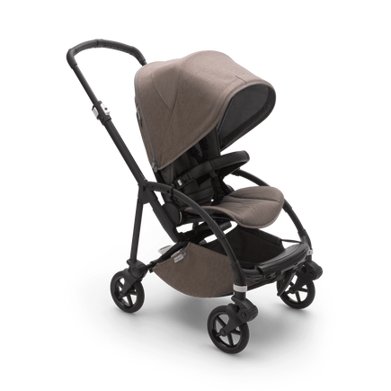 Bugaboo Bee 6 seat stroller mineral taupe mélange sun canopy, mineral taupe mélange fabrics, black base