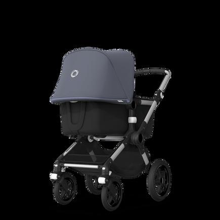 Bugaboo Fox steel blue sun canopy, black fabrics, aluminium chassis
