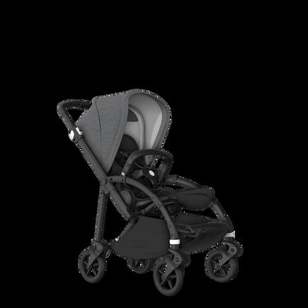 Bugaboo Bee 6 seat stroller grey mélange sun canopy, black fabrics, black base