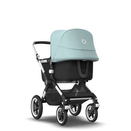 Bugaboo Fox 2 seat and bassinet stroller vapor blue sun canopy, black fabrics, aluminium base
