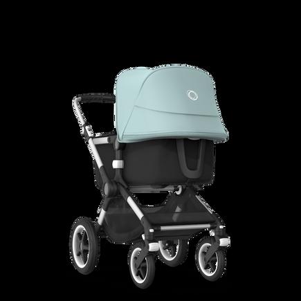 Bugaboo Fox 2 seat and bassinet stroller vapor blue sun canopy, black fabrics, aluminium base
