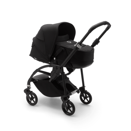 Bugaboo Bee 6 seat and bassinet stroller black sun canopy, black fabrics, black base