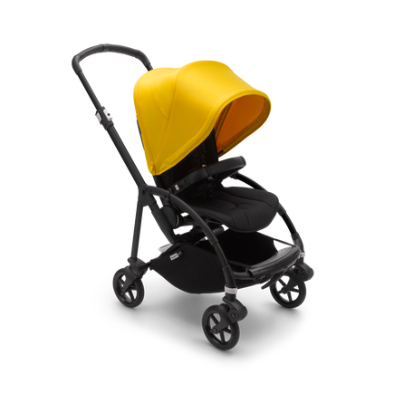 Bugaboo Bee 6 seat pushchair lemon yellow sun canopy, black fabrics, black base