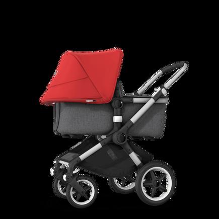 Bugaboo Fox 2 seat and bassinet stroller red sun canopy, grey melange fabrics, aluminium base