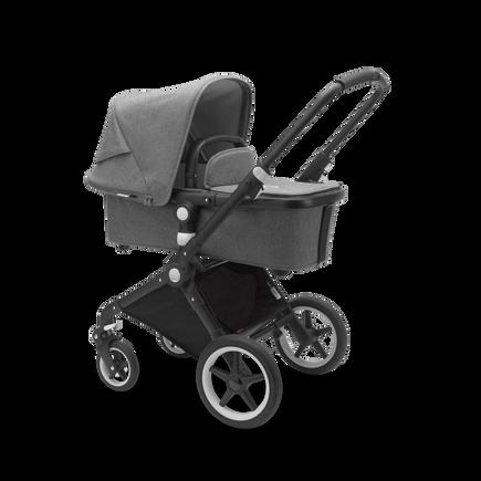 Bugaboo Lynx seat and carrycot pushchair grey melange sun canopy, grey melange fabrics, black base