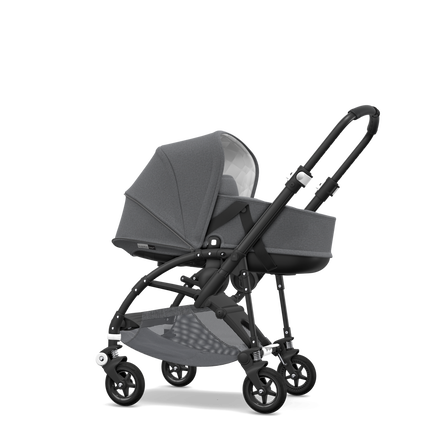 Bugaboo Bee 5 seat and bassinet stroller classic collection grey melange sun canopy, classic collection grey melange fabrics, black base