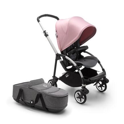 US - B6 bassinet stroller bundle aluminum, grey melange, soft pink