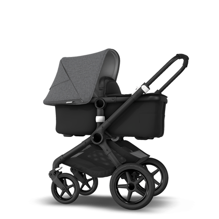 Fox 2 Seat and Bassinet Stroller Grey Melange sun canopy, Black style set, Black chassis