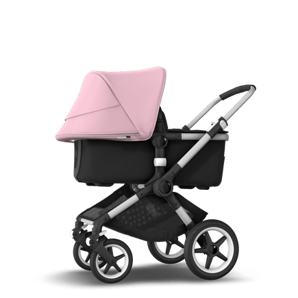 Bugaboo Fox 2 seat and bassinet stroller soft pink sun canopy, black fabrics, aluminium base