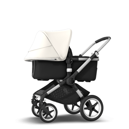 Bugaboo Fox 2 seat and bassinet stroller fresh white sun canopy, black fabrics, aluminium base