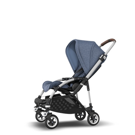 Bugaboo Bee 5 seat stroller blue melange sun canopy, blue melange fabrics, aluminium base
