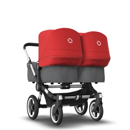AU - Bugaboo Donkey 3 Twin Seat and Bassinet Stroller Red sun canopy, Grey Melange style Set, Aluminum chassis