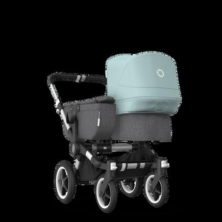 Bugaboo Donkey 3 Mono seat and bassinet stroller vapor blue sun canopy, grey melange style set, aluminium base