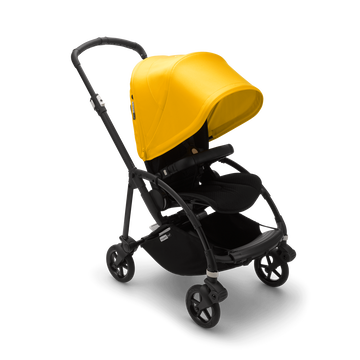 Bugaboo Bee 6 seat stroller lemon yellow sun canopy, black fabrics, black base