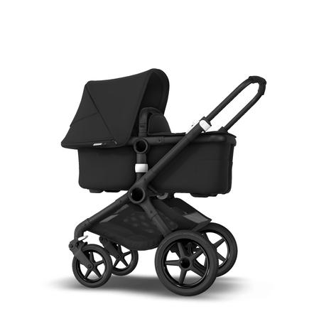 Bugaboo Fox 2 seat and bassinet pram black sun canopy, black fabrics, black chassis