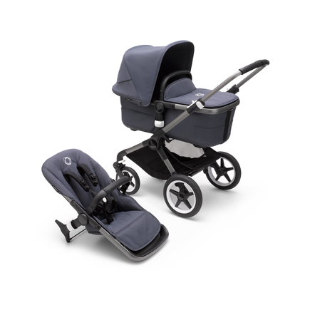 Bugaboo Fox 3 bassinet and seat stroller graphite base, stormy blue fabrics, stormy blue sun canopy