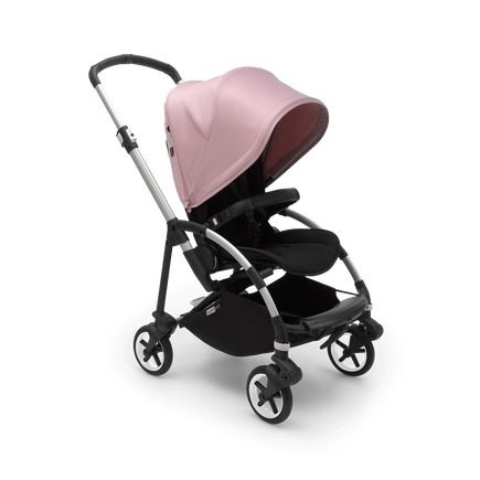 Bugaboo Bee 6 bassinet and seat stroller soft pink sun canopy, black fabrics, aluminium base