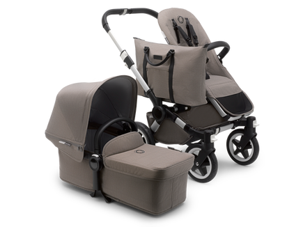AU - Bugaboo Donkey 2 Mono Seat and bassinet pram- mineral taupe mélange, Aluminium Chassis