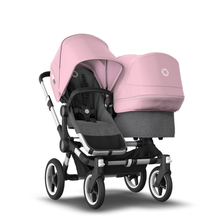 Bugaboo Donkey 3 Duo seat and bassinet stroller soft pink sun canopy, grey melange style set, aluminium base