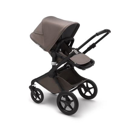Bugaboo Fox 2 seat and bassinet stroller mineral taupe melange sun canopy, mineral taupe melange fabrics, black chassis