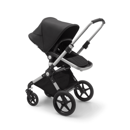 Bugaboo Lynx bassinet and seat stroller black sun canopy, black fabrics, aluminium base