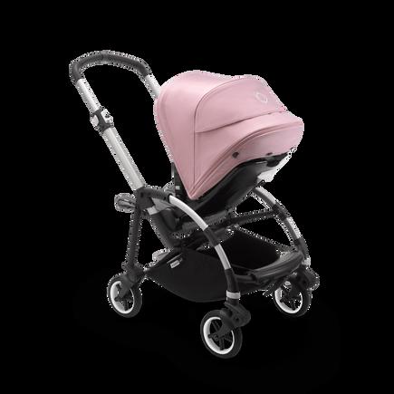 Bugaboo Bee 6 seat stroller soft pink sun canopy, grey mélange fabrics, aluminum base